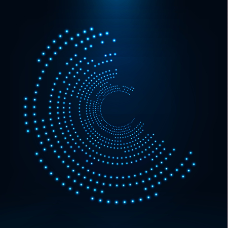 Illustration pour Abstract geometric technology shape of glowing particles .Broken light neon dots and Network connection. Neon circles consist of lights . - image libre de droit