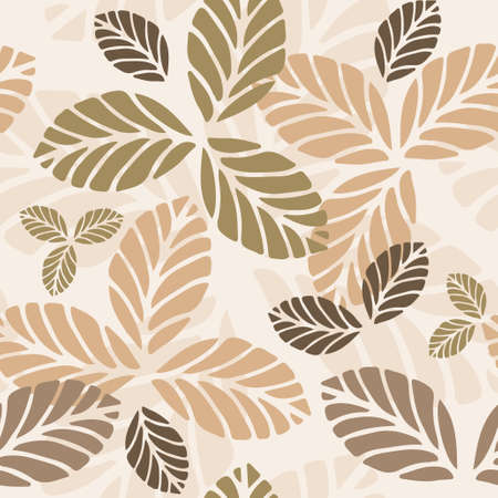 Illustration for Floral vector seamless pattern with autumn leaves - Royalty Free Image