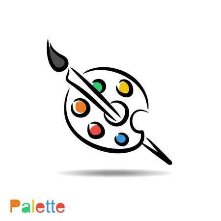 Ilustración de color palette and artistic brush - Imagen libre de derechos