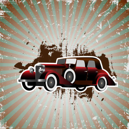 Grunge background with retro car.Vector illustration mural