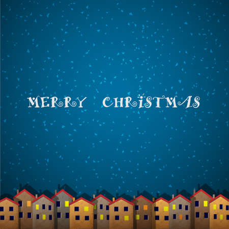 Christmas card with houses.
