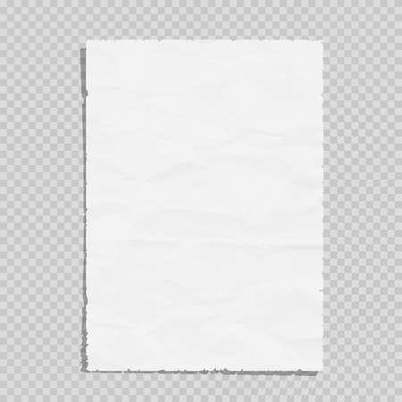 Ilustración de Empty white paper sheet crumpled. Realistic blank page on transparent illustration - Imagen libre de derechos