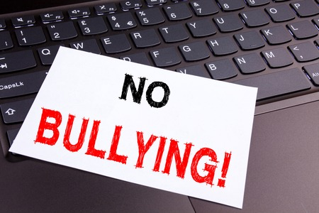 Photo for No Bullying writing text made in the office close-up on laptop computer keyboard. - Royalty Free Image