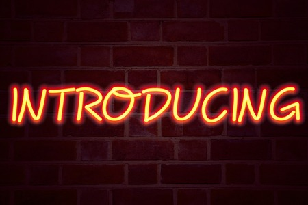 Photo for Introducing neon sign on brick wall background. Fluorescent Neon tube Sign on brickwork Business concept for Introduction Start Intro Beginning 3D rendered Front View - Royalty Free Image
