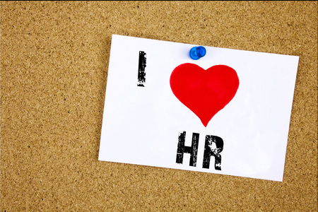 Photo for Hand writing text caption inspiration showing I Love HR Human resource concept meaning Personnel Staff Forces Loving written on sticky note, reminder isolated background with space - Royalty Free Image