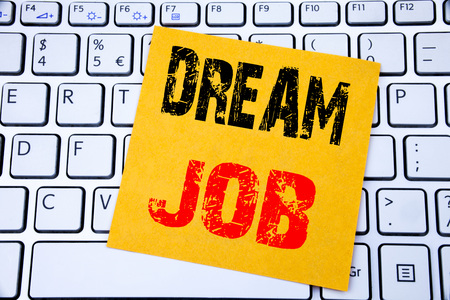 Photo for Dream Job. Business concept for Dreaming about Employment Job Position written on sticky note paper on white keyboard background. - Royalty Free Image