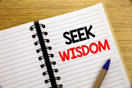Photo for Word, writing Seek Wisdom. Business concept for Inspiration Knowledge written on notepad with space on old wood wooden background with pen marker - Royalty Free Image