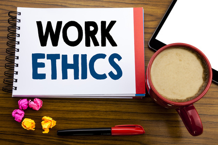 Photo for Handwritten text showing Work Ethics. Business concept writing Moral Benefit Principles Written on notepad paper, old black wooden background in office view with pen coffee and tablet - Royalty Free Image
