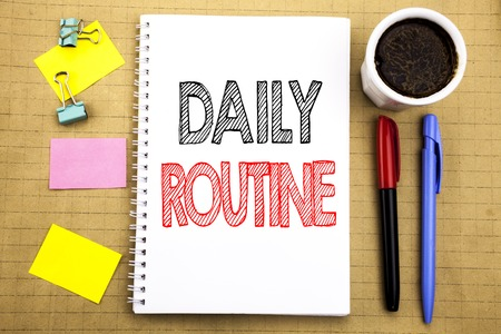 Photo pour Word, writing Daily Routine. Business concept for Habitual Lifestyle Written on notepad paper background with space office view with pencil marker coffee - image libre de droit