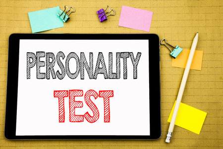 Photo for Word, writing Personality Test. Business concept for Attitude Assessment Written on laptop, wooden background with sticky note and pen - Royalty Free Image