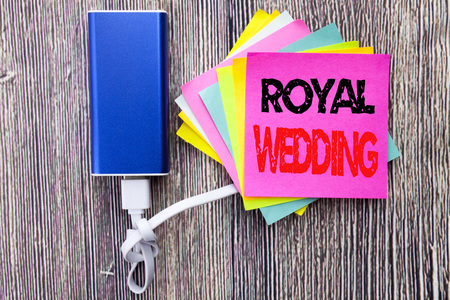 Photo for Royal Wedding. Business concept for British England Wedding written on sticky note with space on old wood wooden background with power bank - Royalty Free Image