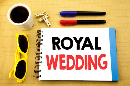 Photo for Writing text showing Royal Wedding. Business concept for British England Wedding written on sticky note with copy space on wood wooden background with sunglasses - Royalty Free Image