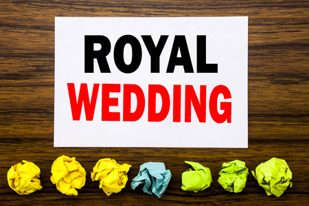 Photo for Hand writing text caption inspiration showing Royal Wedding. Concept for British England Wedding Written on sticky, with sticky, one folded paper alone for difference or collaboration - Royalty Free Image