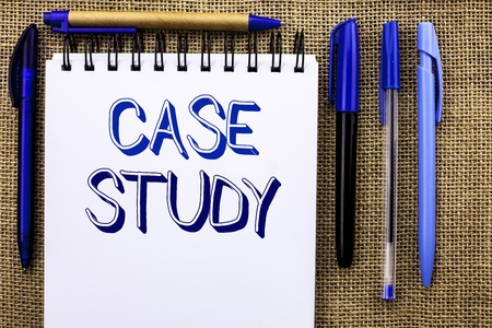Foto de Writing note showing  Case Study. Business photo showcasing Research Information Analysis Observe Learn Discuss Criteria written Notebook Book the jute background Pens next to it. - Imagen libre de derechos