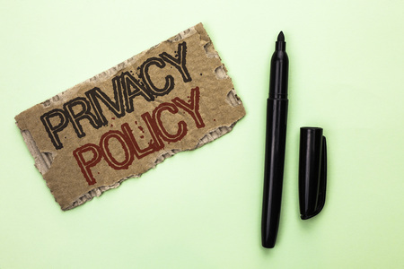 Photo pour Word writing text Privacy Policy. Business concept for Document Information Security Confidential Data Protection written Tear Cardboard Piece the plain background Marker next to it. - image libre de droit