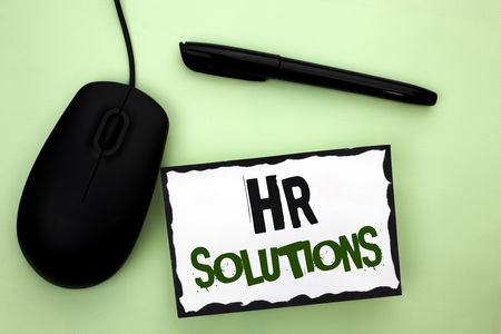 Photo for Text sign showing Hr Solutions. Conceptual photo Recruitment Solution Consulting Management Solving Onboarding written Sticky Note Paper the plain background Pen and Mouse next to it. - Royalty Free Image