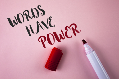 Photo pour Conceptual hand writing showing Words Have Power. Business photo showcasing Statements you say have the capacity to change your reality written Plain Pink background Marker next to it. - image libre de droit