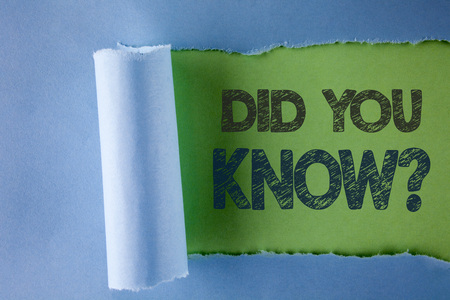 Foto de Conceptual hand writing showing Did You Know Question. Business photo text asking about facts of informations Trivia Competition written under Tear Folded paper plain Green background. - Imagen libre de derechos