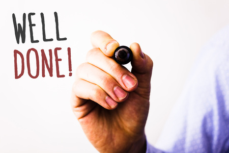 Foto de Conceptual hand writing showing Well Done Motivational Call. Business photo texts Good Job Great Results Positive EvaluationMan holding pen pointing idea message black red letters white background - Imagen libre de derechos