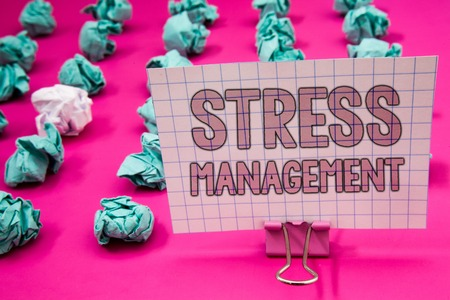 Photo for Conceptual hand writing showing Stress Management. Business photo showcasing Meditation Therapy Relaxation Positivity Healthcare Paperclip with pink letters pink ground green paper lobs - Royalty Free Image