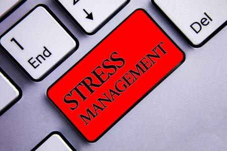 Photo for Word writing text Stress Management. Business concept for Meditation Therapy Relaxation Positivity Healthcare Display several silvery arrow key focused red button with black letters - Royalty Free Image