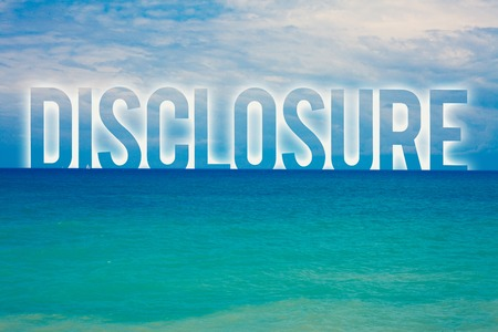 Photo pour Word writing text Disclosure. Business concept for The action of making New or Secret Confidential information known Blue beach water cloudy clouds sky natural scene landscape message idea - image libre de droit
