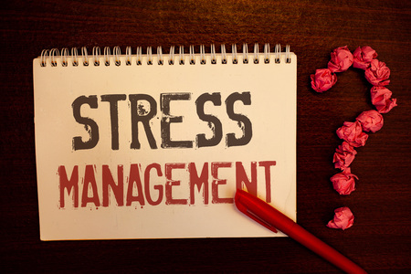 Photo for Handwriting text Stress Management. Concept meaning Meditation Therapy Relaxation Positivity Healthcare Reddish paper balls structures question mark red pen notebook browny desk - Royalty Free Image