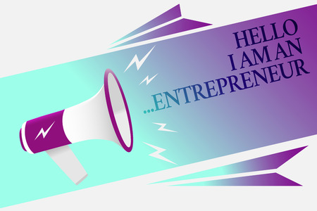 Photo for Text sign showing Hello I Am An ...Entrepreneur. Conceptual photo person who sets up a business or startups Megaphone loudspeaker speech bubble important message speaking out loud - Royalty Free Image