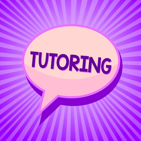 Photo for Conceptual hand writing showing Tutoring. Business photo text An act of a person employed to administer knowledge to someone Speech bubble idea reminder purple shadows important intention ray - Royalty Free Image