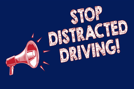 Photo for Word writing text Stop Distracted Driving. Business concept for asking to be careful behind wheel drive slowly Megaphone loudspeaker blue background important message speaking loud - Royalty Free Image