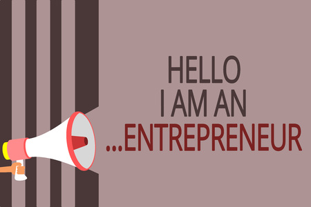Photo for Text sign showing Hello I Am An ...Entrepreneur. Conceptual photo person who sets up a business or startups Megaphone loudspeaker gray stripes important message speaking out loud - Royalty Free Image