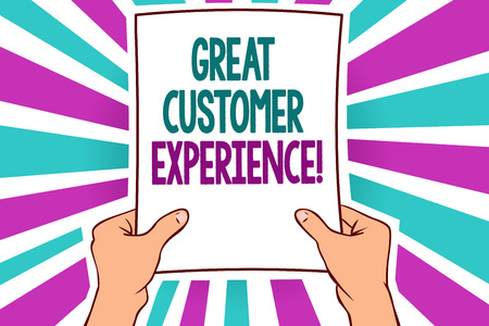 Foto de Word writing text Great Customer Experience. Business concept for responding to clients with friendly helpful way Man holding paper important message remarkable blue purple rays bright idea - Imagen libre de derechos