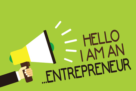 Photo for Conceptual hand writing showing Hello I Am An ...Entrepreneur. Business photo showcasing person who sets up a business or startups Man holding megaphone green background message speaking loud - Royalty Free Image