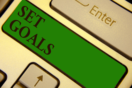 Photo for Conceptual hand writing showing Set Goals. Business photo text Defining or achieving something in the future based on plan Keyboard green key create computer computing reflection document - Royalty Free Image