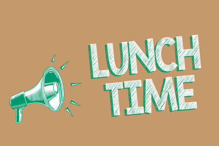 Photo pour Conceptual hand writing showing Lunch Time. Business photo showcasing Meal in the middle of the day after breakfast and before dinner Megaphone brown background important message speaking loud - image libre de droit