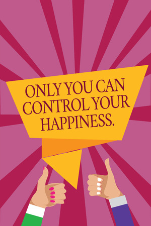 Photo for Word writing text Only You Can Control Your Happiness.. Business concept for Personal Self-motivation inspiration Man woman hands thumbs up approval speech bubble origami rays background - Royalty Free Image