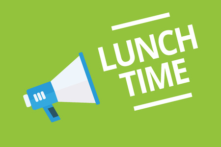 Photo pour Handwriting text writing Lunch Time. Concept meaning Meal in the middle of the day after breakfast and before dinner Megaphone loudspeaker green background important message speaking loud - image libre de droit