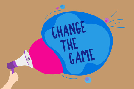 Photo pour Handwriting text writing Change The Game. Concept meaning Make a movement do something different new strategies Man holding Megaphone loudspeaker screaming talk colorful speech bubble - image libre de droit