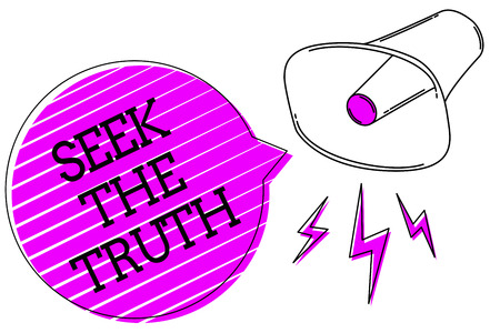 Photo for Conceptual hand writing showing Seek The Truth. Business photo text Looking for the real facts Investigate study discover Megaphone purple speech bubble stripes important loud message - Royalty Free Image