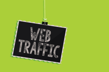 Photo pour Conceptual hand writing showing Web Traffic. Business photo text Amount of data sent and received by visitors to a website Hanging blackboard message communication sign green background - image libre de droit