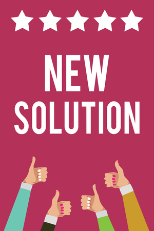 Photo pour Writing note showing New Solution. Business photo showcasing Modern Innovation Latest effective approach to a problem Men women hands thumbs up approval stars information purple background - image libre de droit