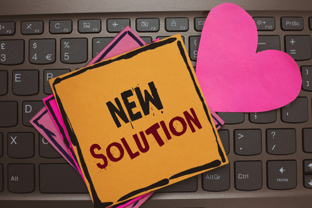 Photo pour Word writing text New Solution. Business concept for Modern Innovation Latest effective approach to a problem Papers Romantic lovely message Heart Keyboard Type computer Good feelings - image libre de droit