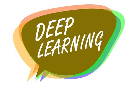 Foto de Word writing text Deep Learning. Business concept for Hierarchical Abstractions Artificial Intelligence Algorithm Speech bubble idea message reminder shadows important intention saying - Imagen libre de derechos