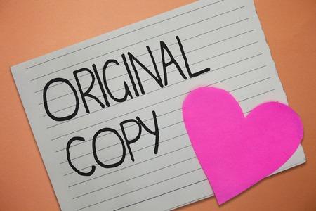 Foto de Word writing text Original Copy. Business concept for Main Script Unprinted Branded Patented Master List. - Imagen libre de derechos