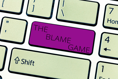 Photo for Text sign showing The Blame Game. Conceptual photo A situation when people attempt to blame one another. - Royalty Free Image