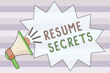 Photo pour Text sign showing Resume Secrets. Conceptual photo Tips on making amazing curriculum vitae Standout Biography. - image libre de droit