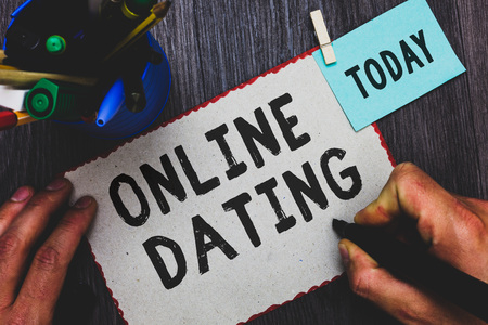 Photo for Conceptual hand writing showing Online Dating. Business photo text Searching Matching Relationships eDating Video Chatting Man holding marker paper clothespin reminder cup marker wood table - Royalty Free Image