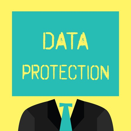 Foto de Text sign showing Data Protection. Conceptual photo Protect IP addresses and personal data from harmful software. - Imagen libre de derechos