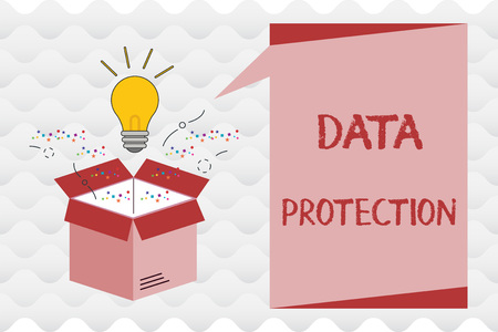 Foto de Handwriting text Data Protection. Concept meaning Protect IP addresses and personal data from harmful software. - Imagen libre de derechos