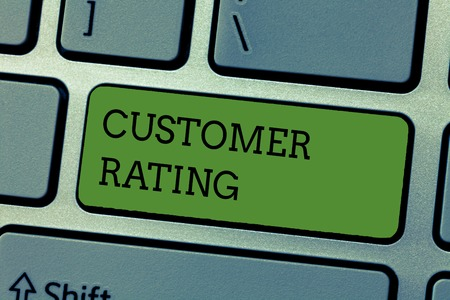 Photo pour Writing note showing Customer Rating. Business photo showcasing Each point of the customers enhances the experience. - image libre de droit